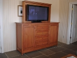 Reclaimed fir TV lift cabinet (open)
