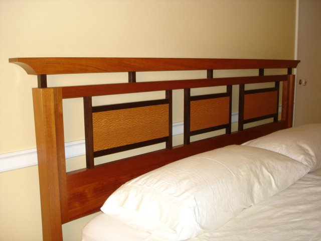 Mahogany & lacewood king size bed