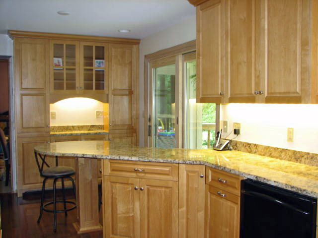 Maple kitchen buffet cabinetry
