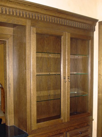 Oak display cabinets (detail)