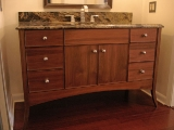 Curved leg walnut vanity