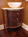 Walnut burl and painted vanity