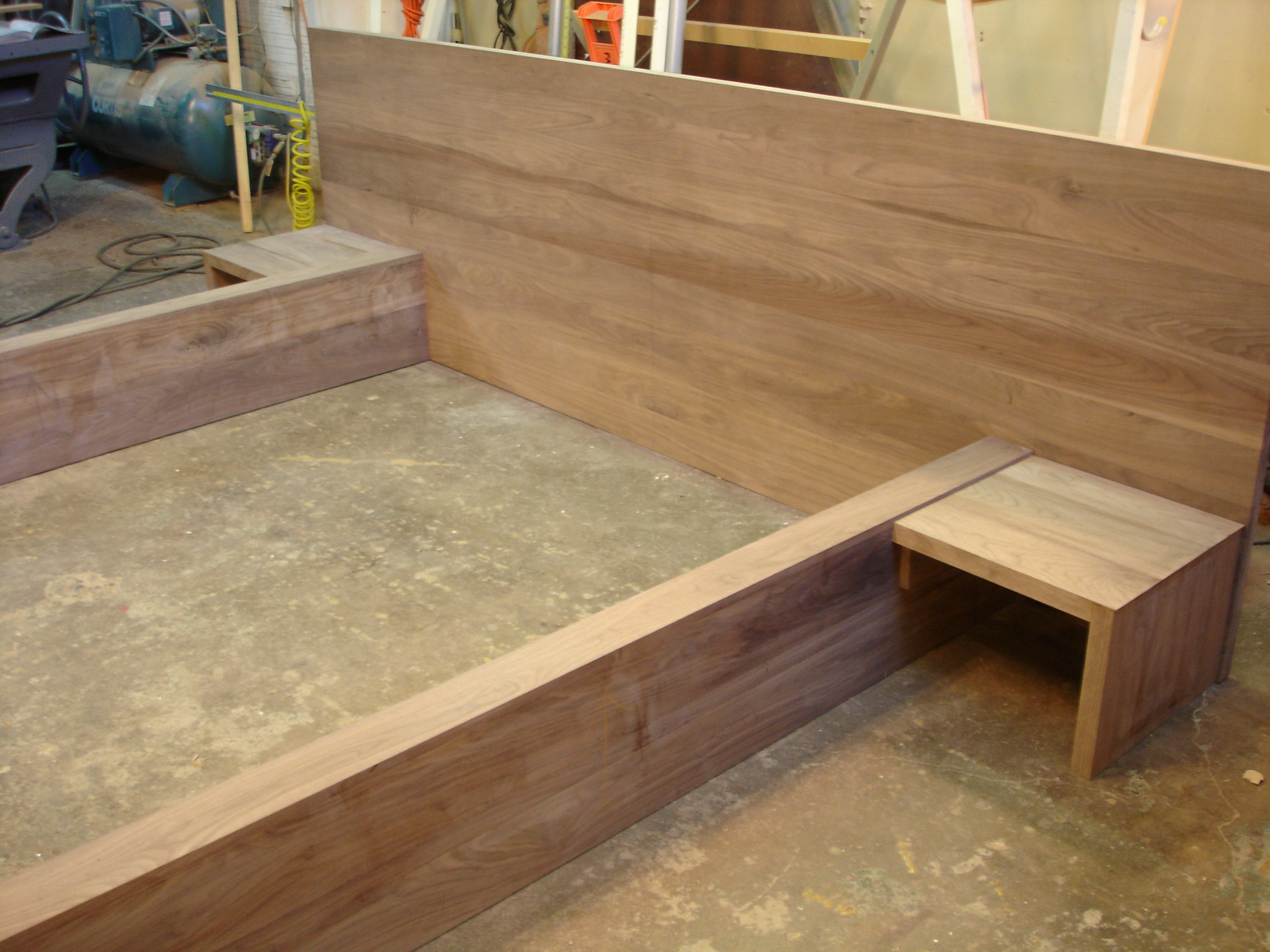 Walnut platform bed / nightstands