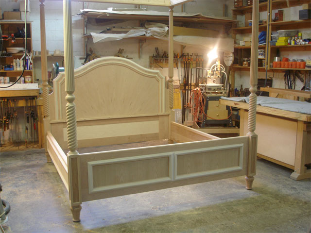 Cherry canopy bed