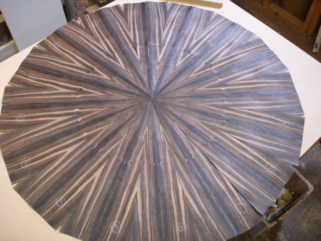 Ebony starburst tabletop layup