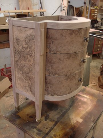 Walnut burl curved vanity