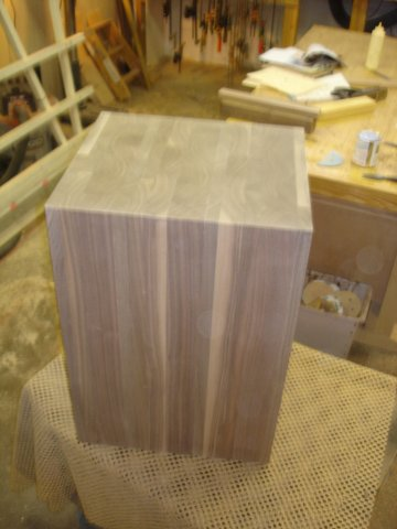 Walnut sculpture pedestal