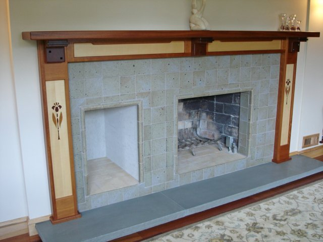 Greene & Greene style fireplace mantel