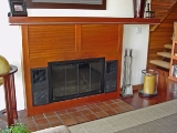 Brazilian cherry fireplace mantel