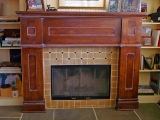 Distressed alder fireplace mantel