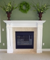Traditional white fireplace mantel