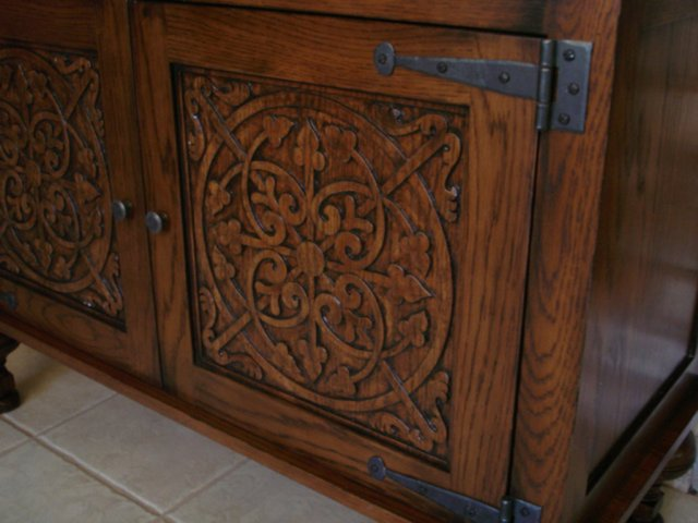 Carved entry chest (detail)