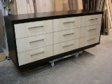 Nine drawer two-tone dresser