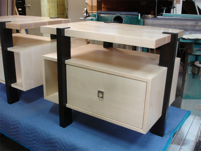 Two-tone maple and oak nightstands