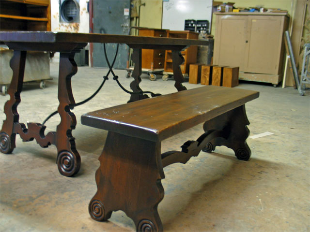 Distressed alder bench and tabletop