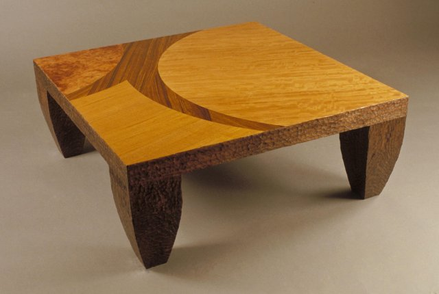 Textured marquetry table