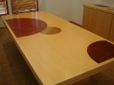 Maple and marquetry dining table